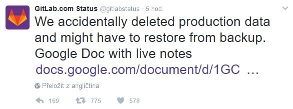 Gitlab si smazal produkční databázi